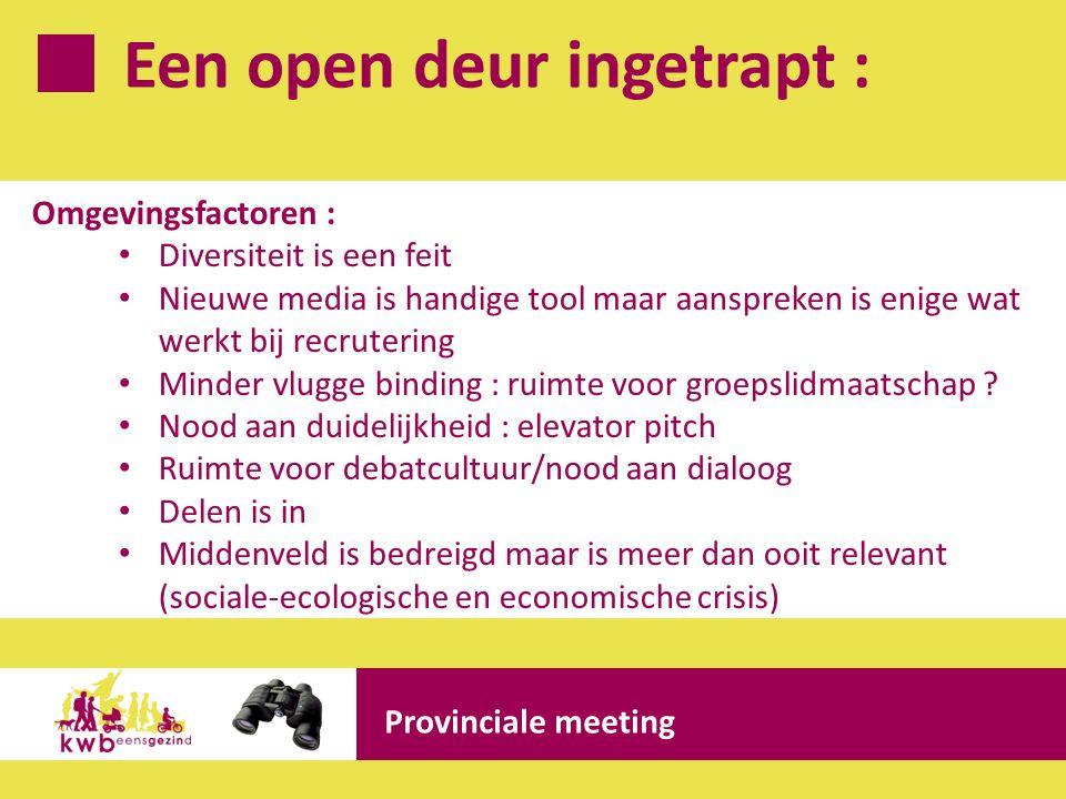 Een open deur ingetrapt : Provinciale meeting Omgevingsfactoren : Diversiteit is een feit Nieuwe media is handige tool maar aanspreken is enige wat we