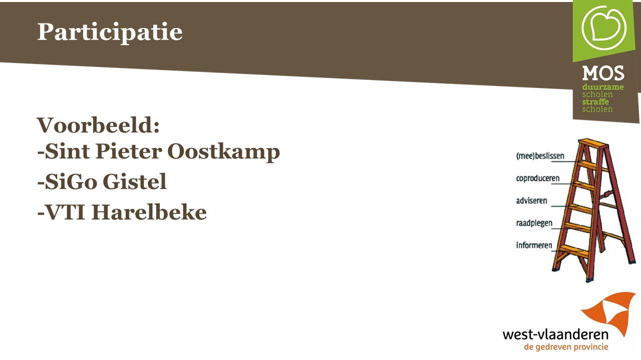 Participatie Voorbeeld: -Sint Pieter Oostkamp -SiGo Gistel -VTI Harelbeke
