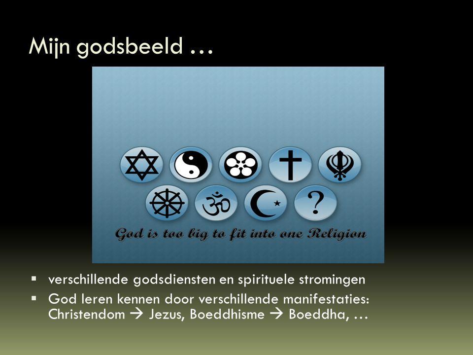 Mijn godsbeeld …  verschillende godsdiensten en spirituele stromingen  God leren kennen door verschillende manifestaties: Christendom  Jezus, Boedd