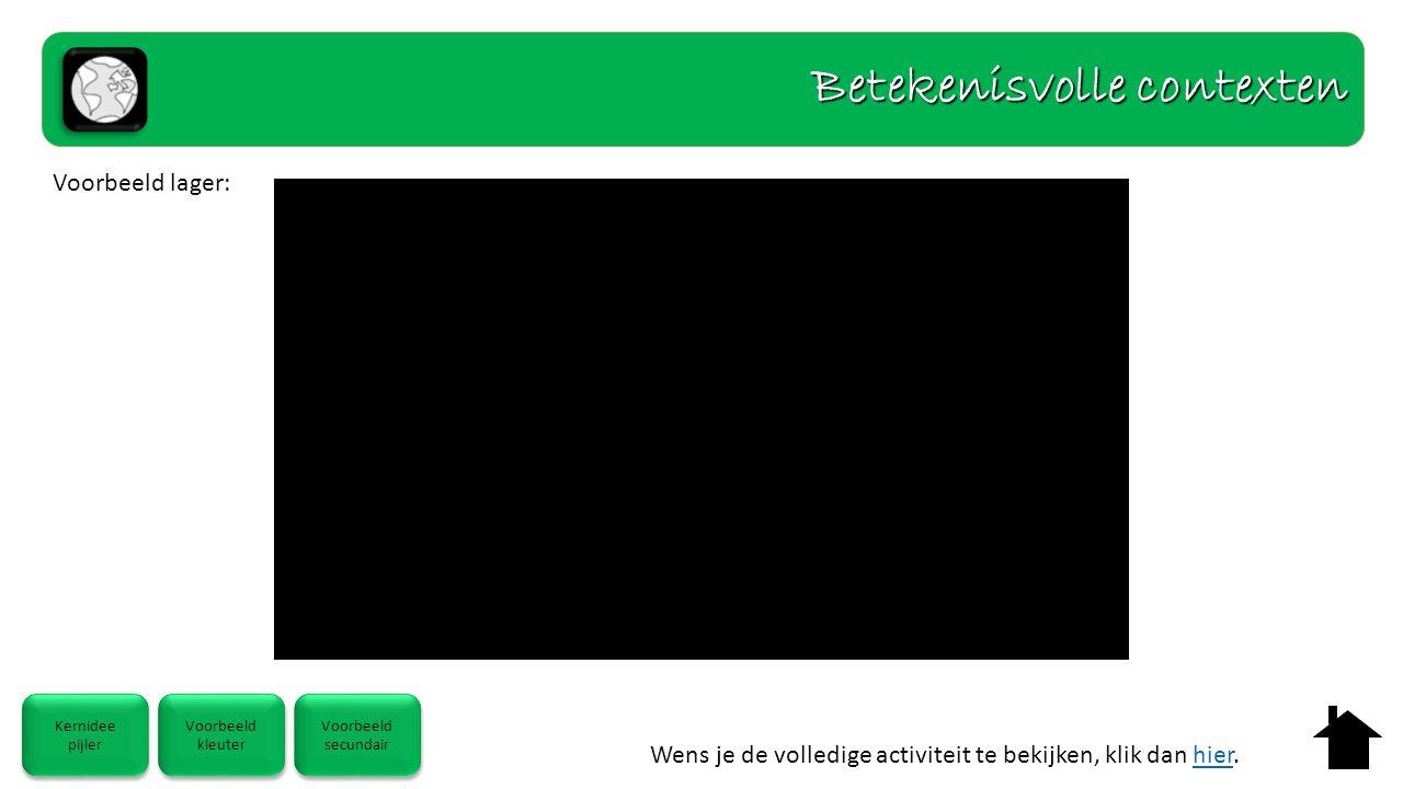 Wens je de volledige activiteit te bekijken, klik dan hier.hier Betekenisvolle contexten Voorbeeld lager: Kernidee pijler Kernidee pijler Voorbeeld kl