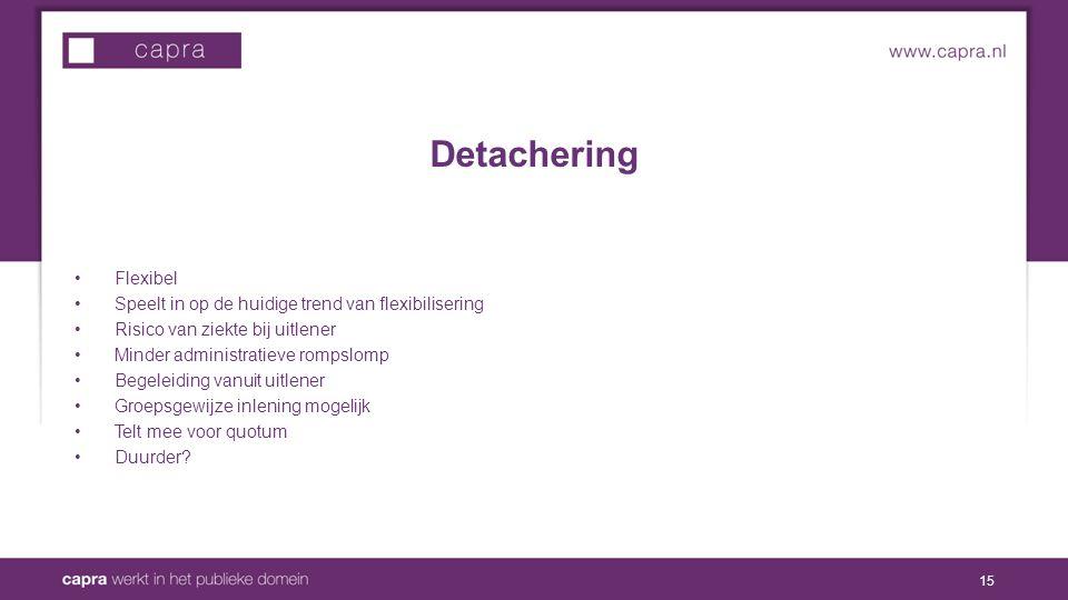 Detachering Flexibel Speelt in op de huidige trend van flexibilisering Risico van ziekte bij uitlener Minder administratieve rompslomp Begeleiding vanuit uitlener Groepsgewijze inlening mogelijk Telt mee voor quotum Duurder.