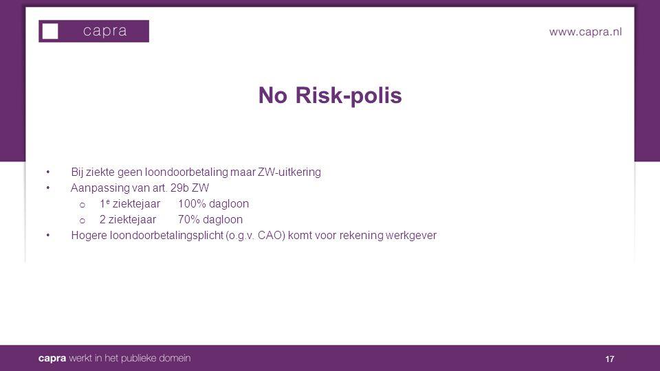 No Risk-polis Bij ziekte geen loondoorbetaling maar ZW-uitkering Aanpassing van art.