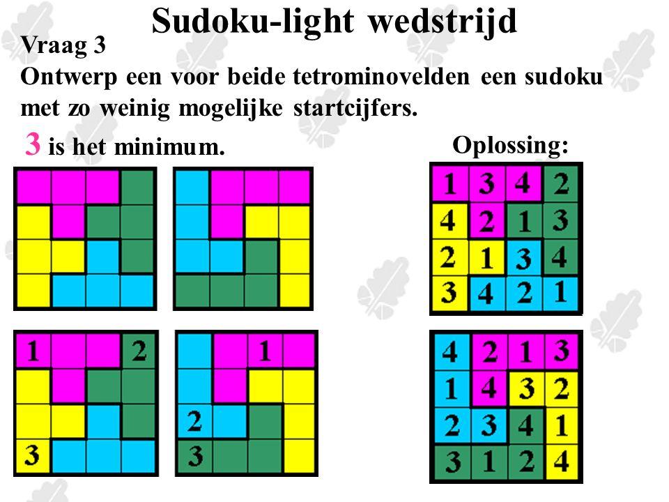 Sudoku-light wedstrijd Vraag 3 Ontwerp een voor beide tetrominovelden een sudoku met zo weinig mogelijke startcijfers.