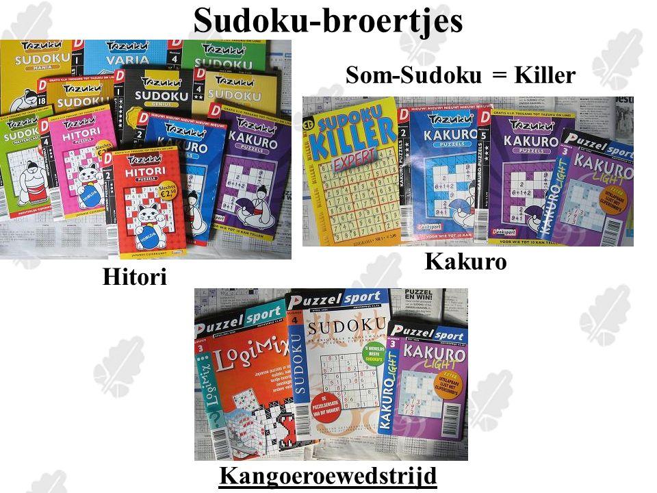 Een wel erg lege sudoku http://www.killersudokuonline.com/#gtweekly http://home.planet.nl/~p.j.hendriks/ppvdw.htm http://home.planet.nl/~p.j.hendriks/ppvdw.htm 67 Magische vierkanten - 76 Hexo-sudoku - 117117 Nr 139