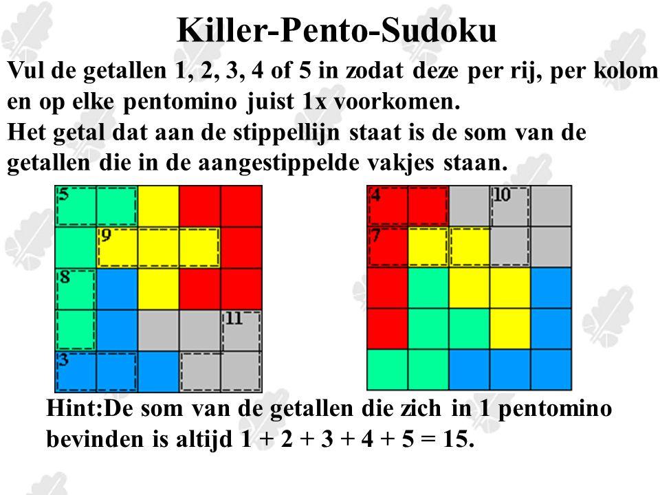 Killer-Pento-Sudoku Vul de getallen 1, 2, 3, 4 of 5 in zodat deze per rij, per kolom en op elke pentomino juist 1x voorkomen.