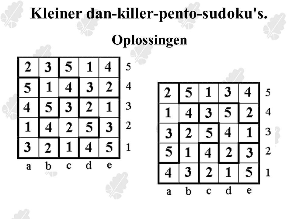 Kleiner dan-killer-pento-sudoku s. Oplossingen