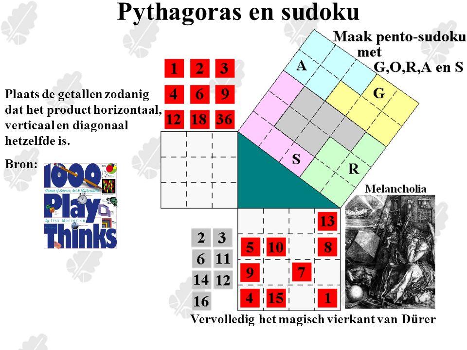 Plaats de getallen zodanig dat het product horizontaal, verticaal en diagonaal hetzelfde is.