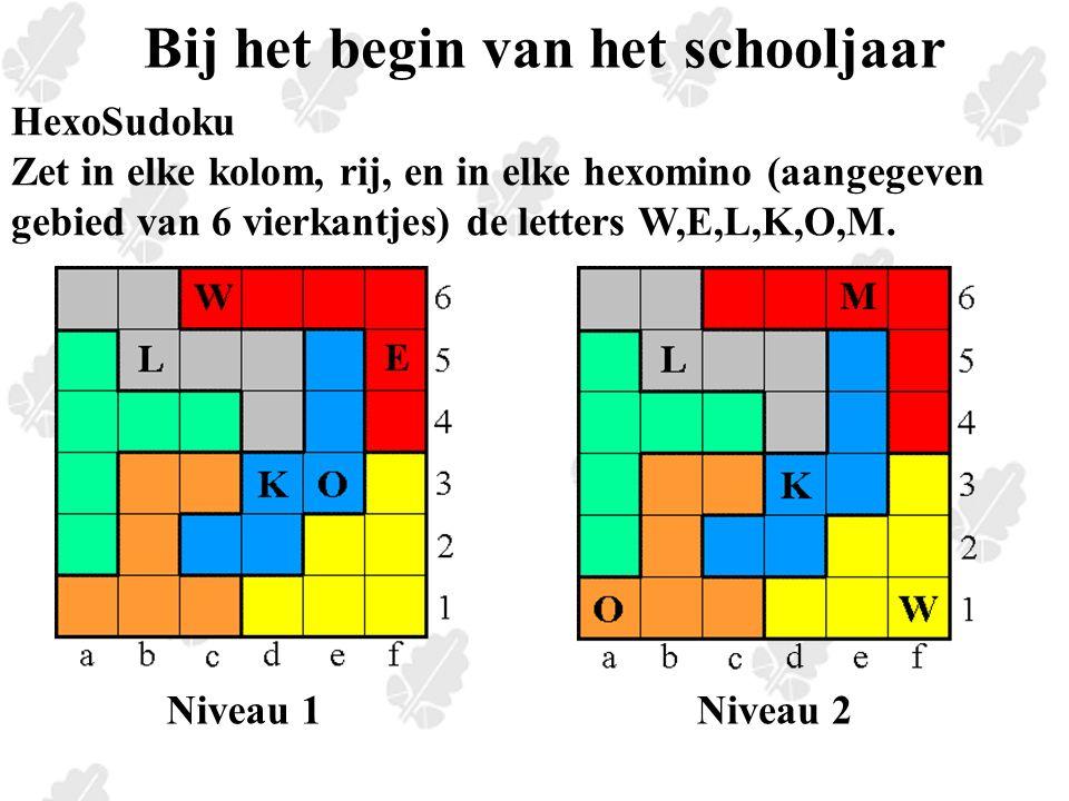 Bij het begin van het schooljaar HexoSudoku Zet in elke kolom, rij, en in elke hexomino (aangegeven gebied van 6 vierkantjes) de letters W,E,L,K,O,M.