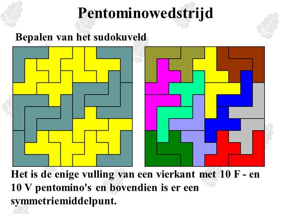Pentominowedstrijd Het is de enige vulling van een vierkant met 10 F - en 10 V pentomino s en bovendien is er een symmetriemiddelpunt.
