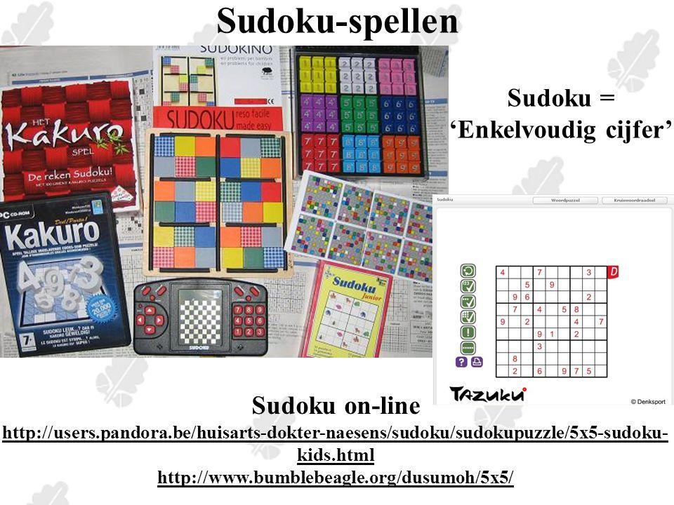 Pentominovelden zoeken Pentomino-vierkanten (5x5) uit 1 set (zonder I) zoeken en sudoku maken, nadien passende opgave.
