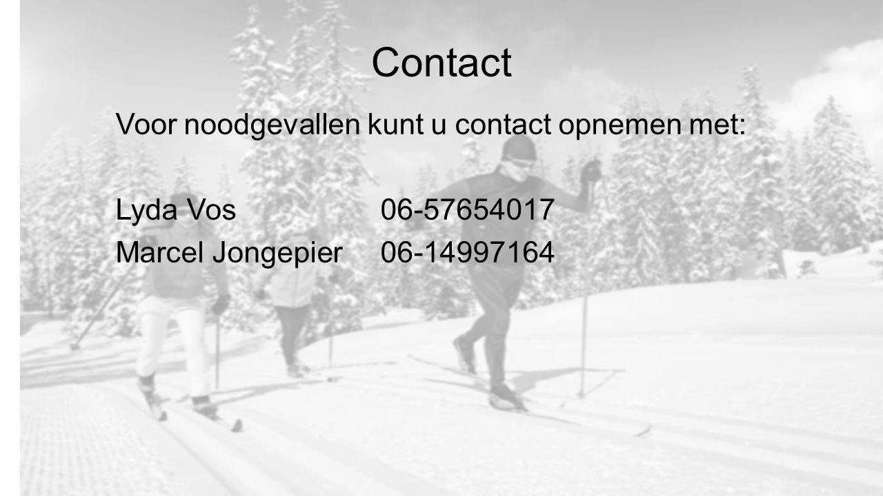 Contact Voor noodgevallen kunt u contact opnemen met: Lyda Vos 06-57654017 Marcel Jongepier06-14997164