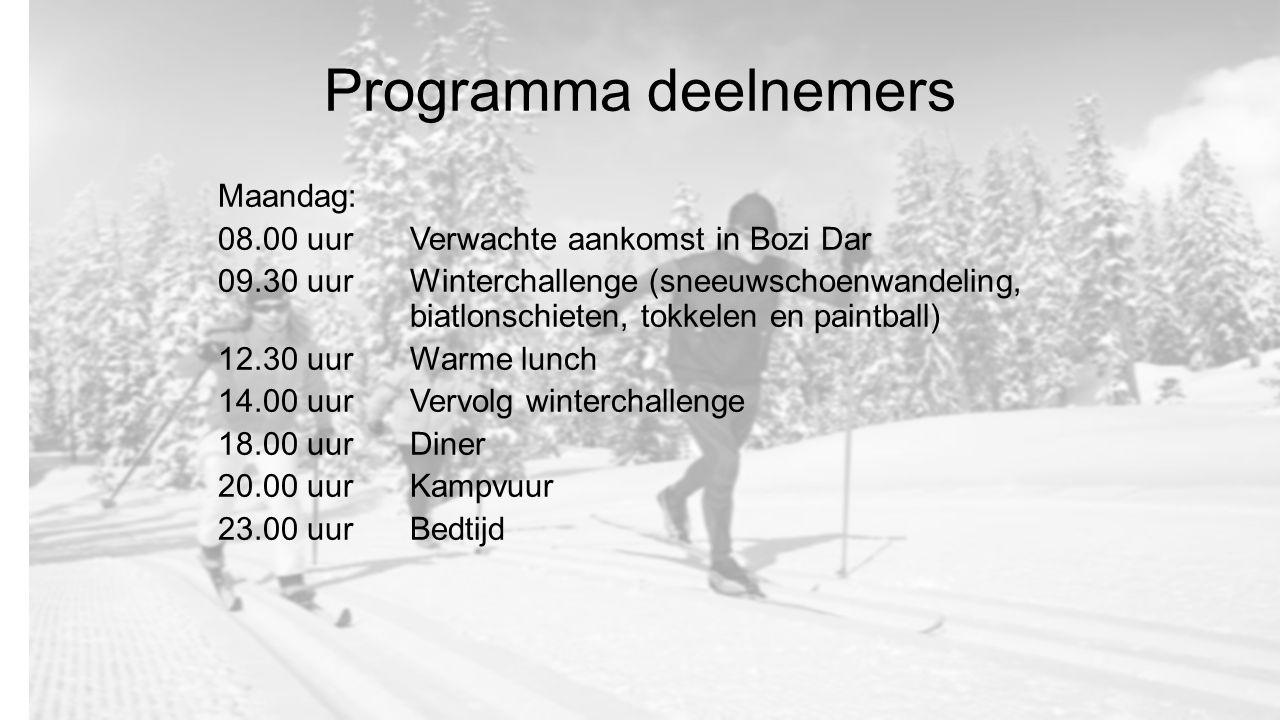 Programma deelnemers Maandag: 08.00 uurVerwachte aankomst in Bozi Dar 09.30 uur Winterchallenge (sneeuwschoenwandeling, biatlonschieten, tokkelen en paintball) 12.30 uur Warme lunch 14.00 uurVervolg winterchallenge 18.00 uurDiner 20.00 uurKampvuur 23.00 uurBedtijd