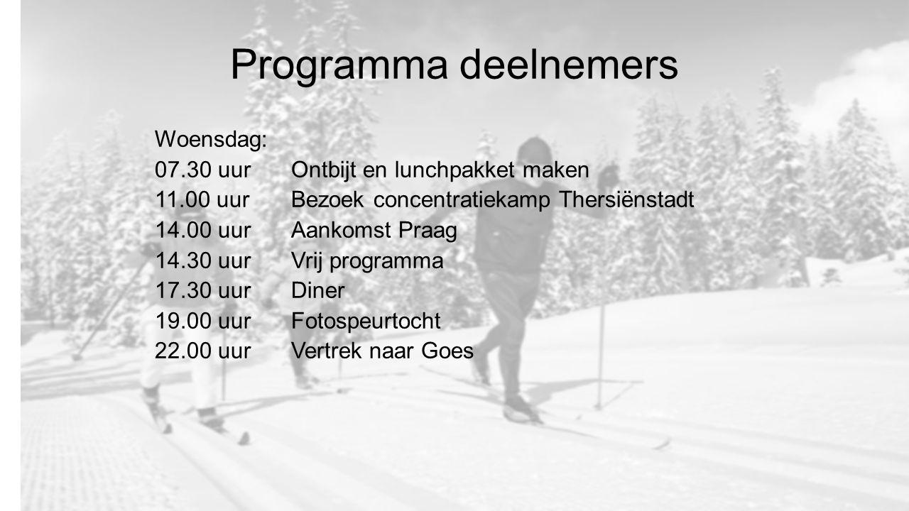Programma deelnemers Woensdag: 07.30 uurOntbijt en lunchpakket maken 11.00 uur Bezoek concentratiekamp Thersiënstadt 14.00 uur Aankomst Praag 14.30 uurVrij programma 17.30 uur Diner 19.00 uurFotospeurtocht 22.00 uurVertrek naar Goes