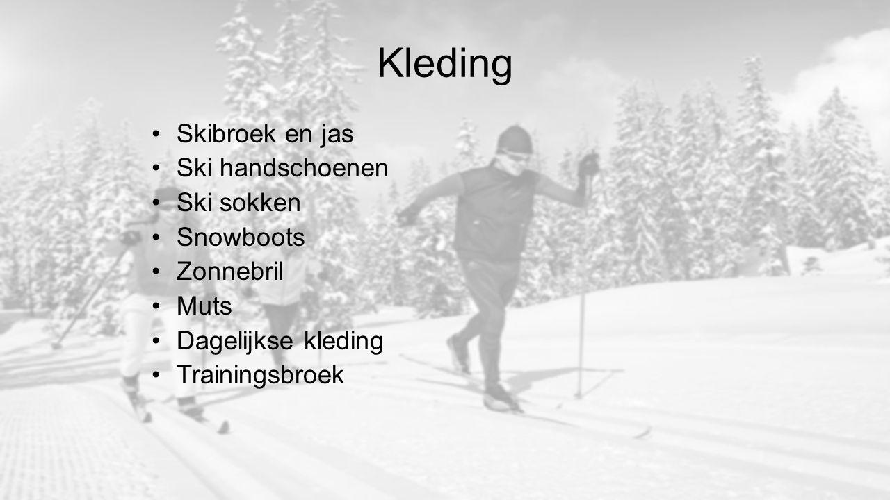 Kleding Skibroek en jas Ski handschoenen Ski sokken Snowboots Zonnebril Muts Dagelijkse kleding Trainingsbroek