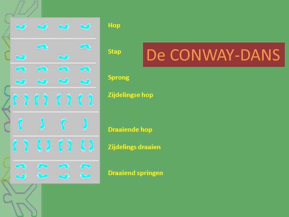 De CONWAY-DANS Hop Stap Sprong Zijdelingse hop Draaiende hop Zijdelings draaien Draaiend springen