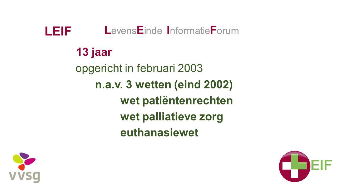LEIF 13 jaar opgericht in februari 2003 n.a.v. 3 wetten (eind 2002) wet patiëntenrechten wet palliatieve zorg euthanasiewet L evens E inde I nformatie
