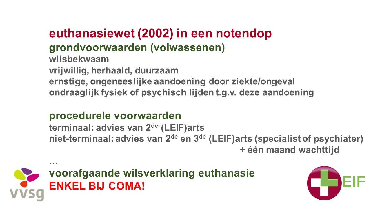 euthanasiewet (2002) in een notendop grondvoorwaarden (volwassenen) wilsbekwaam vrijwillig, herhaald, duurzaam ernstige, ongeneeslijke aandoening door