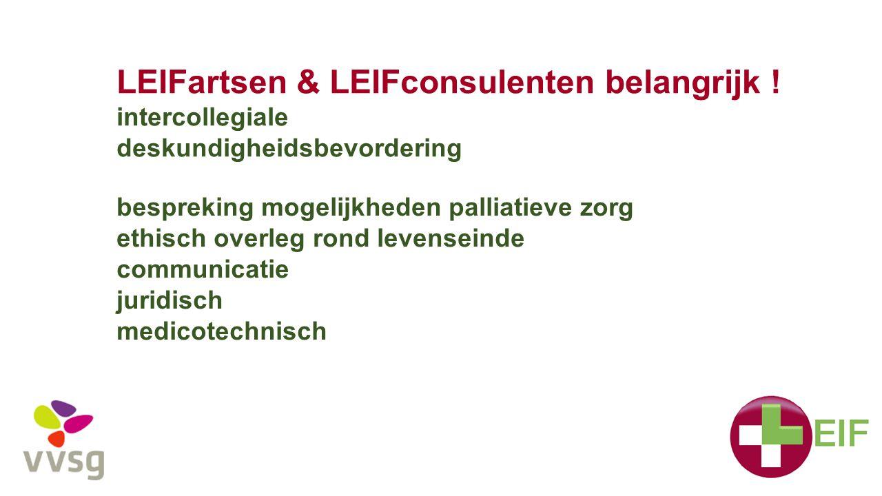 LEIFartsen & LEIFconsulenten belangrijk ! intercollegiale deskundigheidsbevordering bespreking mogelijkheden palliatieve zorg ethisch overleg rond lev