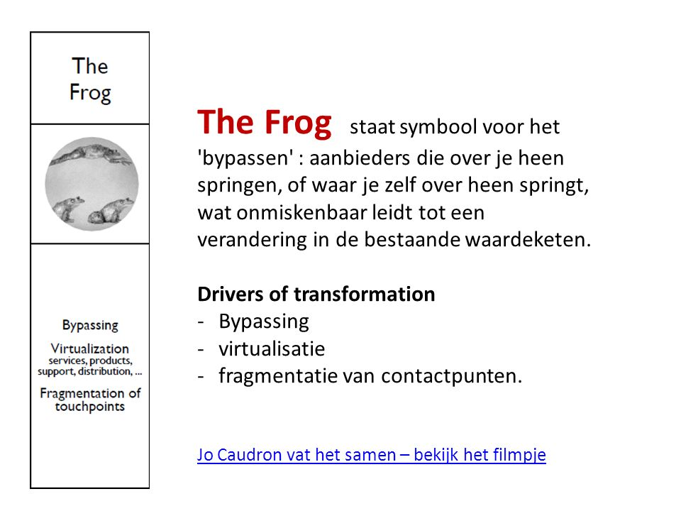 The Frog staat symbool voor het bypassen : aanbieders die over je heen springen, of waar je zelf over heen springt, wat onmiskenbaar leidt tot een verandering in de bestaande waardeketen.