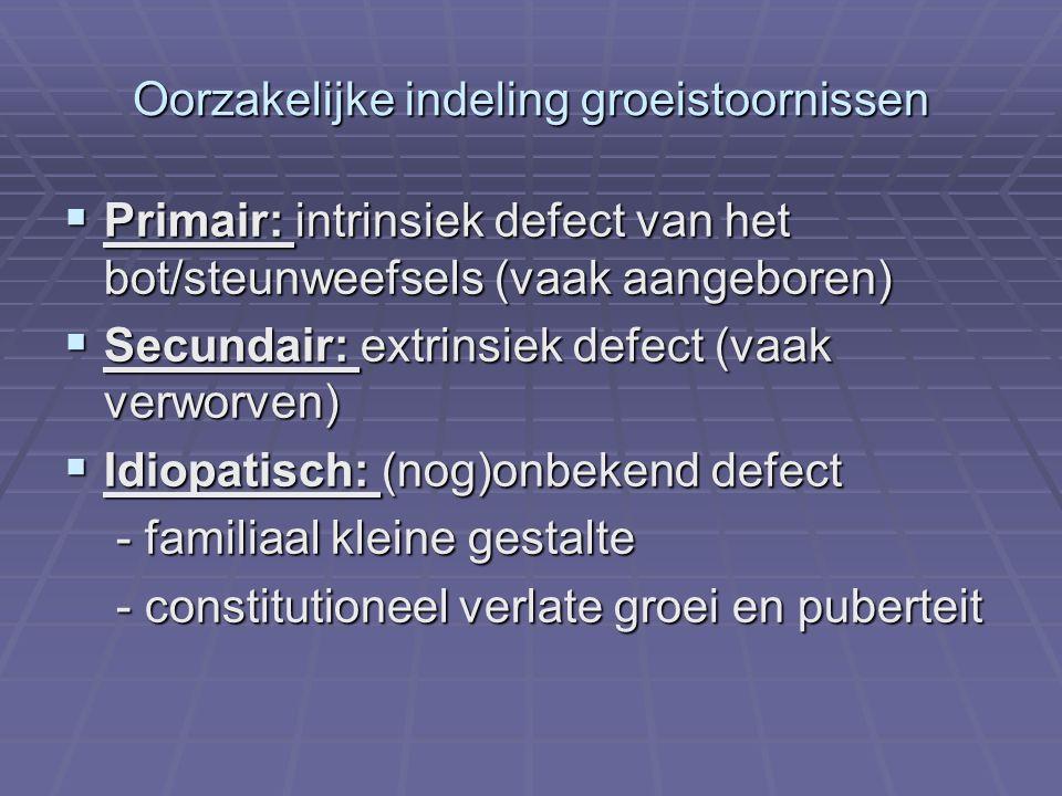 Skeletdysplasieën  Gekenmerkt door een abnormale lichaamsegment verhouding -korte ledematen vb achondroplasie, -korte ledematen vb achondroplasie, hypochondroplasie,Leri-Weill ziekte (geassocieerd relatief groot hoofd) -korte romp vb spondylo-epifysaire dysplasie (geassocieerd met kyfoscoliosis) -korte romp vb spondylo-epifysaire dysplasie (geassocieerd met kyfoscoliosis)  Diagnose door skeletradiografieën (schedel, wervelzuil, bekken, voorarm, hand) en door mutatieanalyse (vb FGFR3-SHOX)