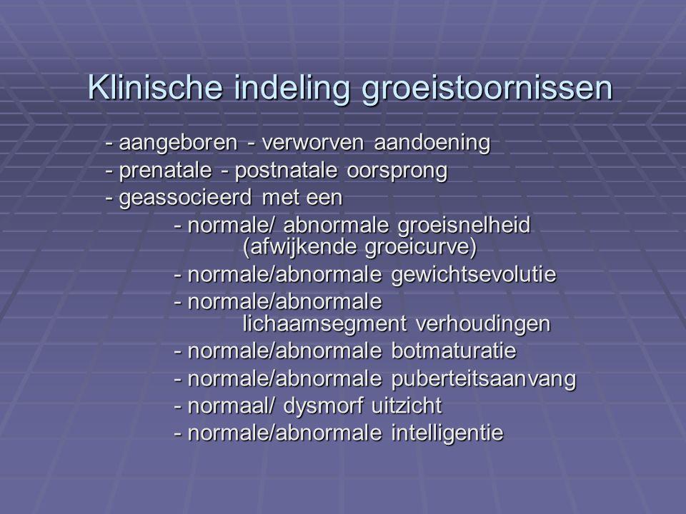 Klinische indeling groeistoornissen - aangeboren - verworven aandoening - prenatale - postnatale oorsprong - geassocieerd met een - normale/ abnormale groeisnelheid (afwijkende groeicurve) - normale/ abnormale groeisnelheid (afwijkende groeicurve) - normale/abnormale gewichtsevolutie - normale/abnormale lichaamsegment verhoudingen - normale/abnormale botmaturatie - normale/abnormale puberteitsaanvang - normaal/ dysmorf uitzicht - normale/abnormale intelligentie