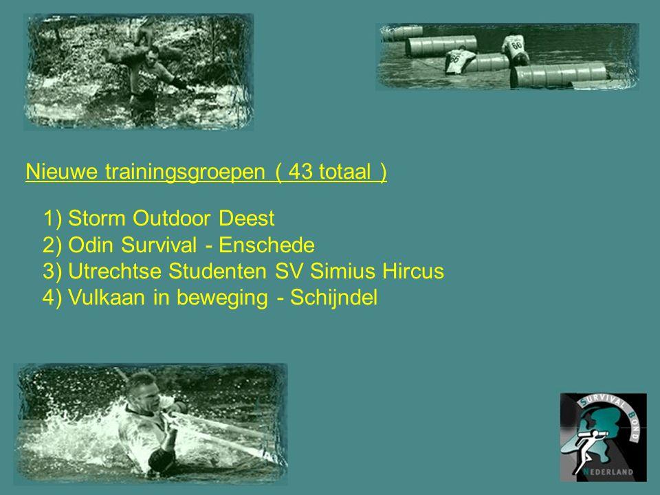 Nieuwe trainingsgroepen ( 43 totaal ) 1) Storm Outdoor Deest 2) Odin Survival - Enschede 3) Utrechtse Studenten SV Simius Hircus 4) Vulkaan in beweging - Schijndel