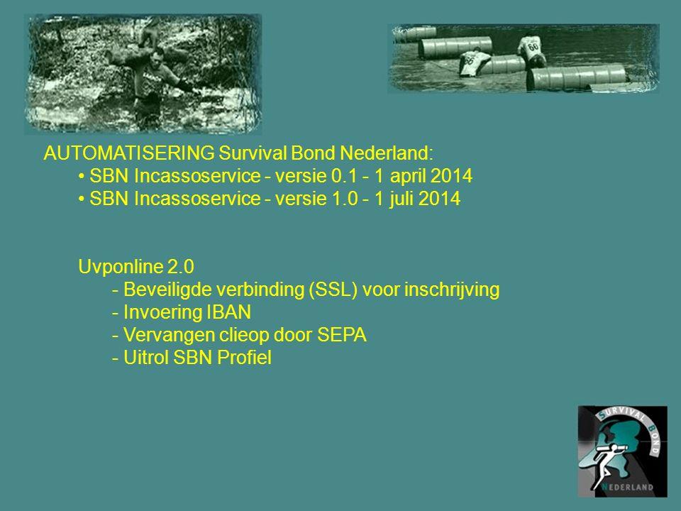 AUTOMATISERING Survival Bond Nederland: SBN Incassoservice - versie 0.1 - 1 april 2014 SBN Incassoservice - versie 1.0 - 1 juli 2014 Uvponline 2.0 - Beveiligde verbinding (SSL) voor inschrijving - Invoering IBAN - Vervangen clieop door SEPA - Uitrol SBN Profiel