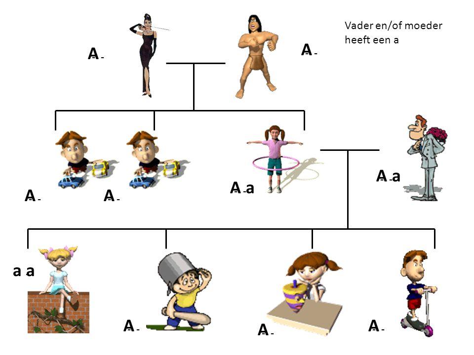 A - AA A A A A A A a a a Vader en/of moeder heeft een a