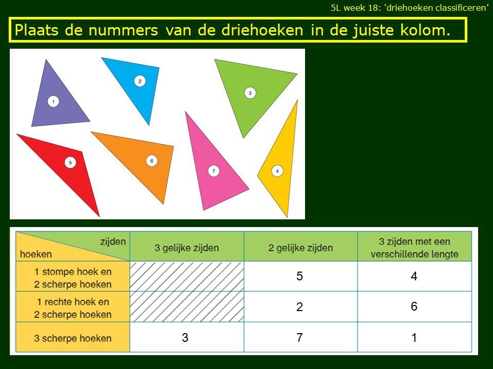 Plaats de nummers van de driehoeken in de juiste kolom.