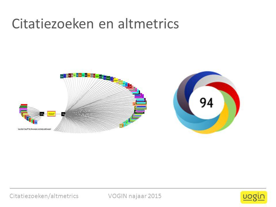 Citatiezoeken/altmetrics VOGIN najaar 2015 Citatiezoeken en altmetrics