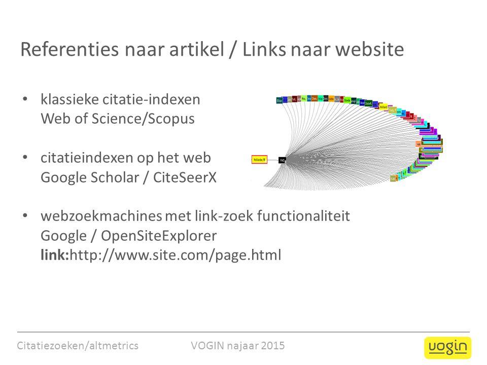 Referenties naar artikel / Links naar website Citatiezoeken/altmetrics VOGIN najaar 2015 klassieke citatie-indexen Web of Science/Scopus citatieindexe