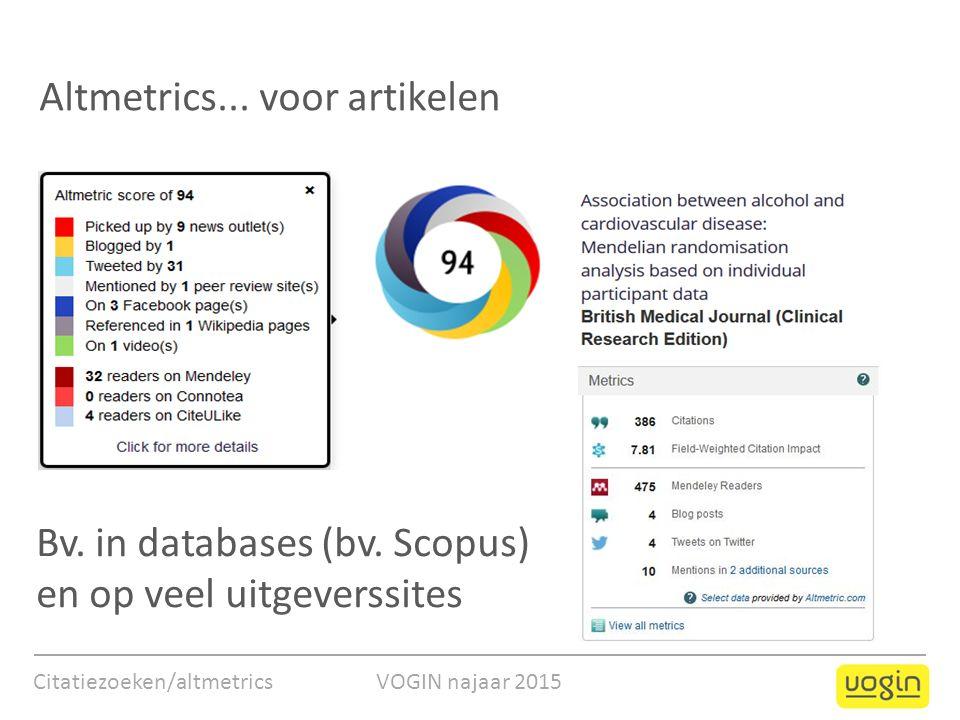 Altmetrics... voor artikelen Bv. in databases (bv. Scopus) en op veel uitgeverssites