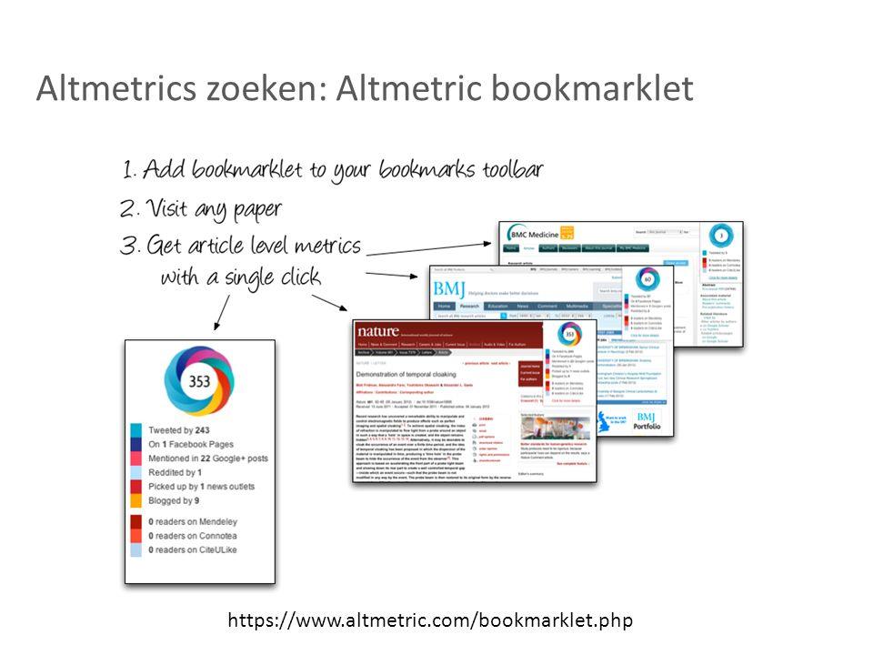 Altmetrics zoeken: Altmetric bookmarklet https://www.altmetric.com/bookmarklet.php
