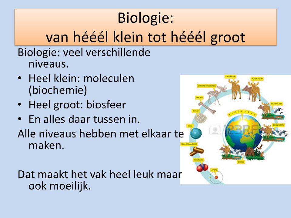 Biologie: van hééél klein tot hééél groot Biologie: veel verschillende niveaus. Heel klein: moleculen (biochemie) Heel groot: biosfeer En alles daar t