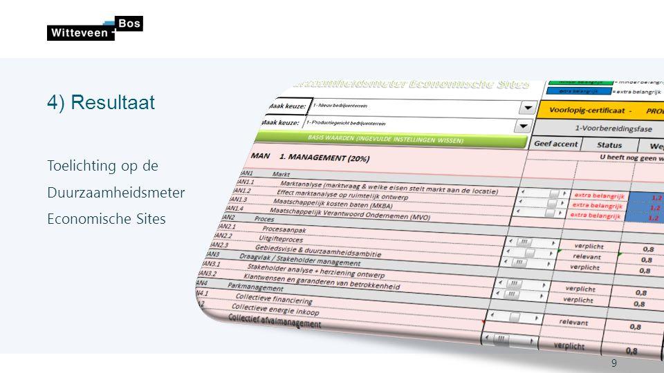 4) Resultaat 9 Toelichting op de Duurzaamheidsmeter Economische Sites