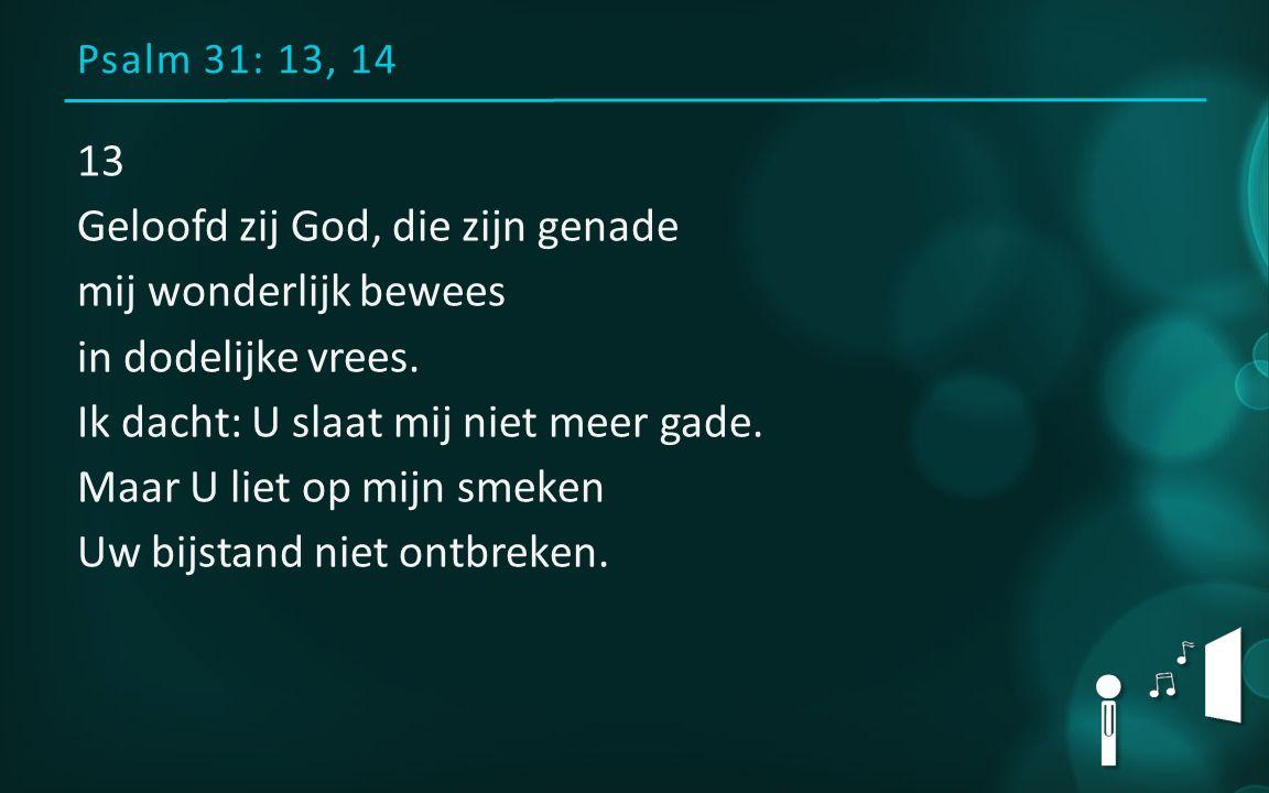 Psalm 31: 13, 14 13 Geloofd zij God, die zijn genade mij wonderlijk bewees in dodelijke vrees. Ik dacht: U slaat mij niet meer gade. Maar U liet op mi