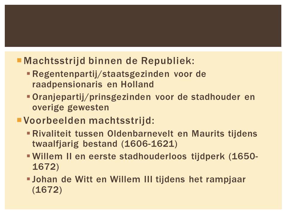  Machtsstrijd binnen de Republiek:  Regentenpartij/staatsgezinden voor de raadpensionaris en Holland  Oranjepartij/prinsgezinden voor de stadhouder