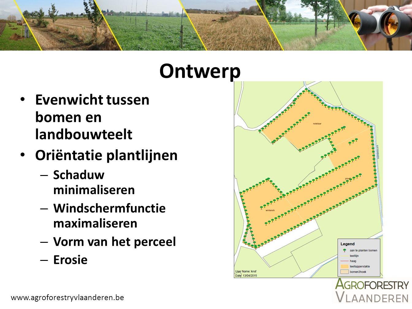 www.agroforestryvlaanderen.be Evenwicht tussen bomen en landbouwteelt Oriëntatie plantlijnen – Schaduw minimaliseren – Windschermfunctie maximaliseren