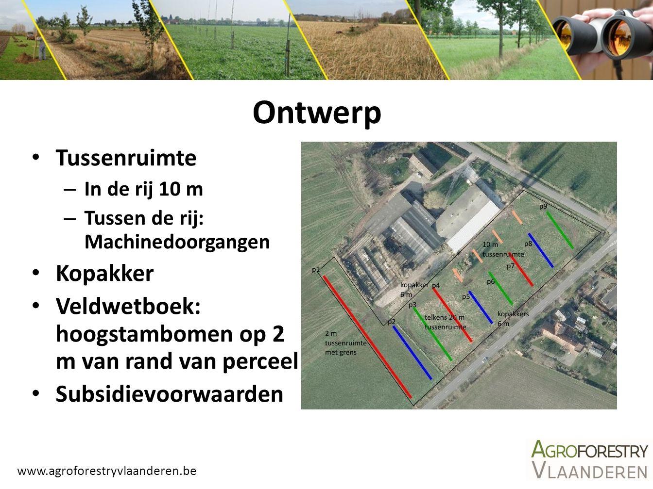 www.agroforestryvlaanderen.be Tussenruimte – In de rij 10 m – Tussen de rij: Machinedoorgangen Kopakker Veldwetboek: hoogstambomen op 2 m van rand van