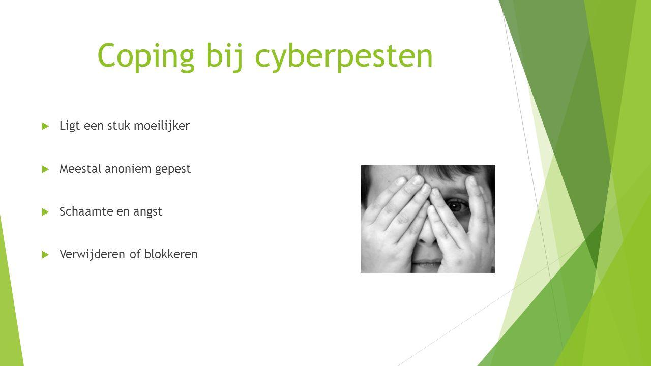 Coping bij cyberpesten  Ligt een stuk moeilijker  Meestal anoniem gepest  Schaamte en angst  Verwijderen of blokkeren