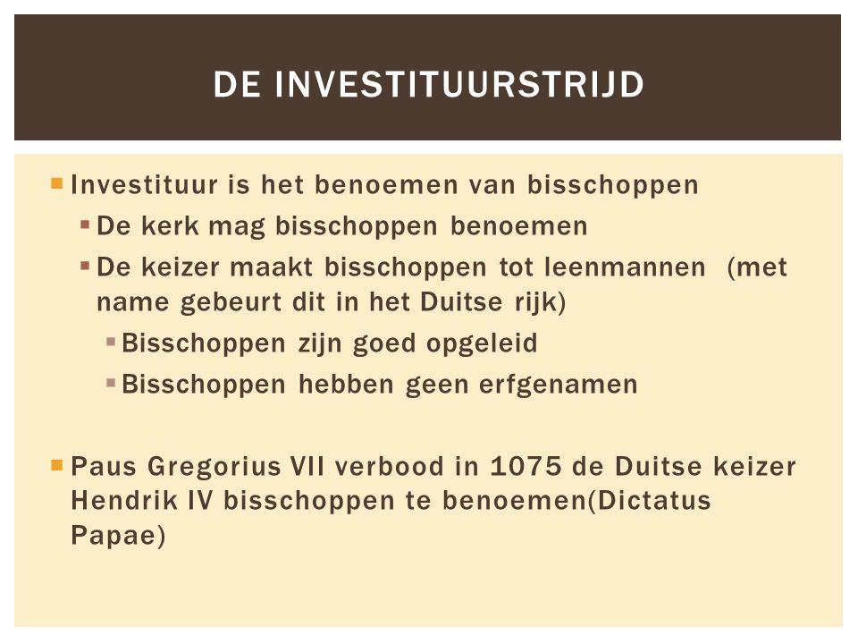  Investituur is het benoemen van bisschoppen  De kerk mag bisschoppen benoemen  De keizer maakt bisschoppen tot leenmannen (met name gebeurt dit in