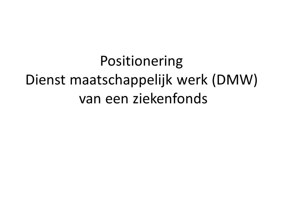 Wettelijk kader DMW DMW= een dienst ter ondersteuning van de thuiszorg (ikv het woonzorgdecreet)  verstrekt hulp- en dienstverlening aan gebruikers en mantelzorgers die door ziekte, handicap, ouderdom of vanuit sociale kwestbaarheid blijvend of tijdelijk problemen ondervinden DMW= een multidiciplinair team (ikv het Vlaams Agentschap voor Personen met een handicap)  voert indicatiestellingen uit voor het VAPH  neemt het contactpersoonschap op ikv de zorgregie voor specifieke doelgroepen DMW= gemachtigde indicatiesteller (ikv de Vlaamse zorgverzekering)  voert indicatiestellingen uit voor de VZVZ