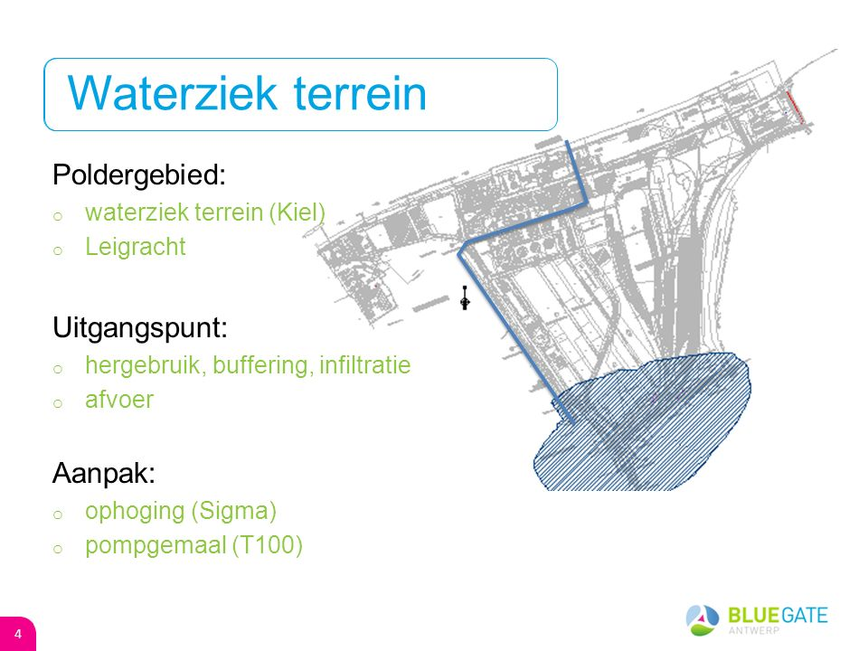 Poldergebied: o waterziek terrein (Kiel) o Leigracht Uitgangspunt: o hergebruik, buffering, infiltratie o afvoer Aanpak: o ophoging (Sigma) o pompgemaal (T100) Waterziek terrein 4