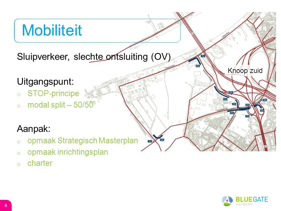 Missie Blue Gate Antwerp is een bedrijventerrein waar (internationale) bedrijven, met sterke affiniteit met en ambitie in innovatie en duurzaamheid hun toekomstvisie kunnen realiseren.