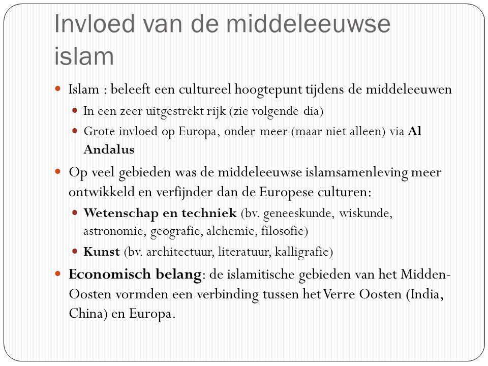 Invloed van de middeleeuwse islam Islam : beleeft een cultureel hoogtepunt tijdens de middeleeuwen In een zeer uitgestrekt rijk (zie volgende dia) Grote invloed op Europa, onder meer (maar niet alleen) via Al Andalus Op veel gebieden was de middeleeuwse islamsamenleving meer ontwikkeld en verfijnder dan de Europese culturen: Wetenschap en techniek (bv.