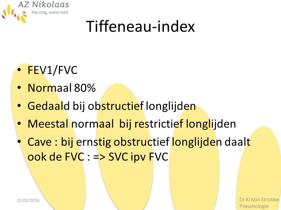 Tiffeneau-index FEV1/FVC Normaal 80% Gedaald bij obstructief longlijden Meestal normaal bij restrictief longlijden Cave : bij ernstig obstructief long