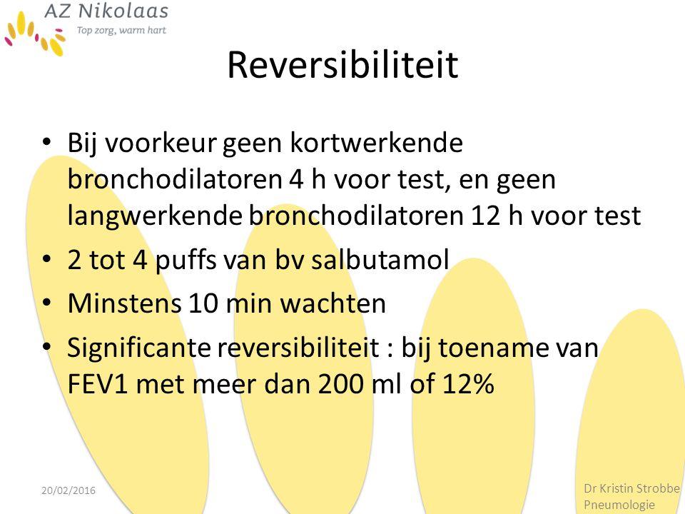 Reversibiliteit Bij voorkeur geen kortwerkende bronchodilatoren 4 h voor test, en geen langwerkende bronchodilatoren 12 h voor test 2 tot 4 puffs van