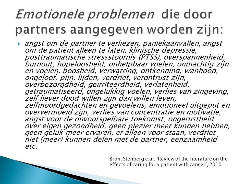  angst om de partner te verliezen, paniekaanvallen, angst om de patiënt alleen te laten, klinische depressie, posttraumatische stressstoornis (PTSS),