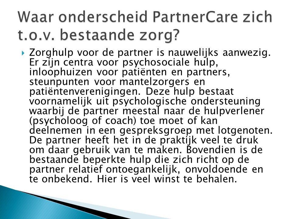  Zorghulp voor de partner is nauwelijks aanwezig. Er zijn centra voor psychosociale hulp, inloophuizen voor patiënten en partners, steunpunten voor m