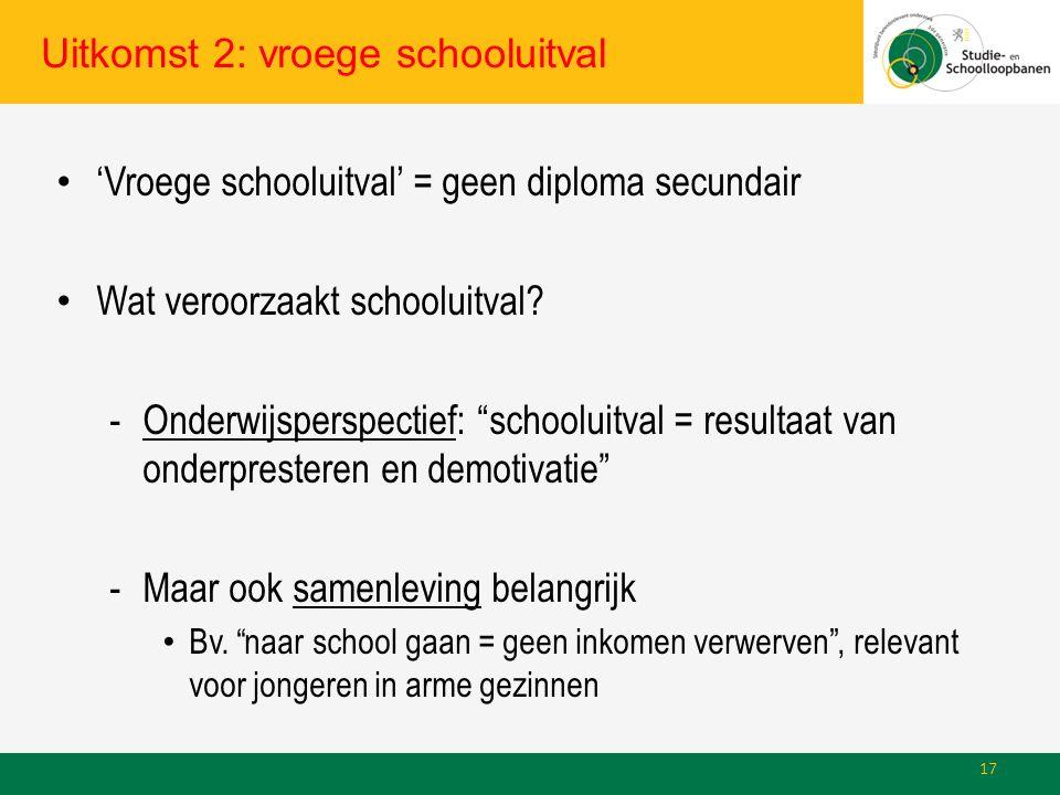 Uitkomst 2: vroege schooluitval 'Vroege schooluitval' = geen diploma secundair Wat veroorzaakt schooluitval.